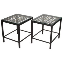 Pair of Custom End Tables Made with Decorative French Grill