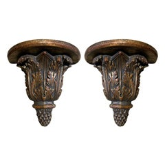 Pair of Custom Finely Carved & Hand Painted Brackets, Brown & Gilt Finish