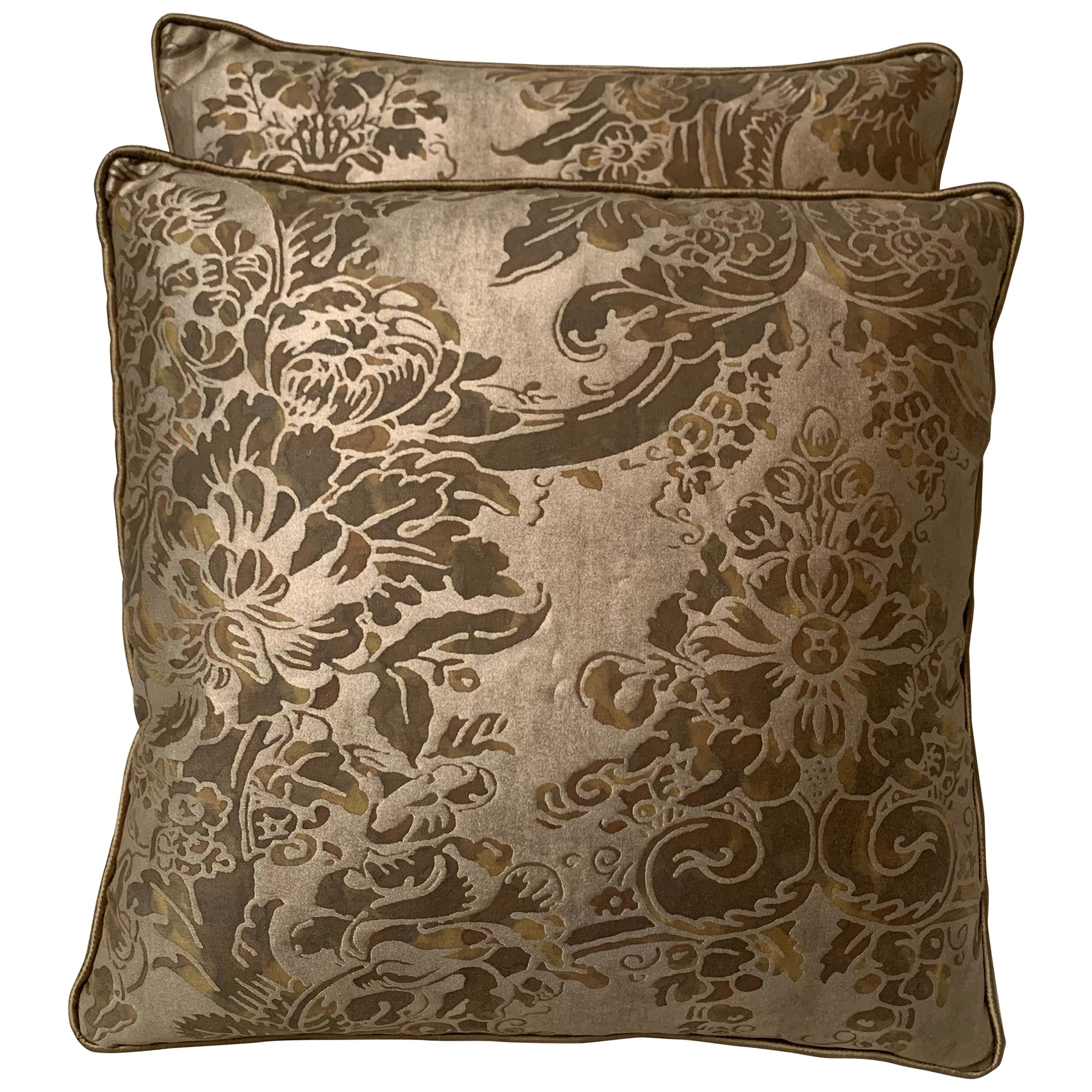 Pair of Custom Fortuny Pillows with Golden Silk Backs