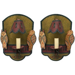 Pair of Custom Hand Painted Owl Motif Tole Wall Sconces