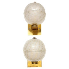 Pair of Custom Handcrafted Murano Glass Sphere-Shaped Sconces