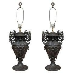 Pair of Custom Iron Table Lamps