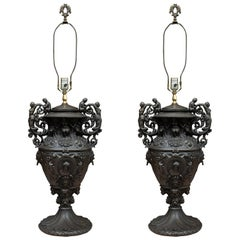 Pair of Custom Iron Table Lamps