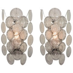 Pair of Clear Pulegoso Murano Glass Disc Sconces