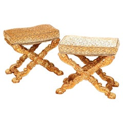 Pair of Custom Lavish Louis XIV Style Carved Benches
