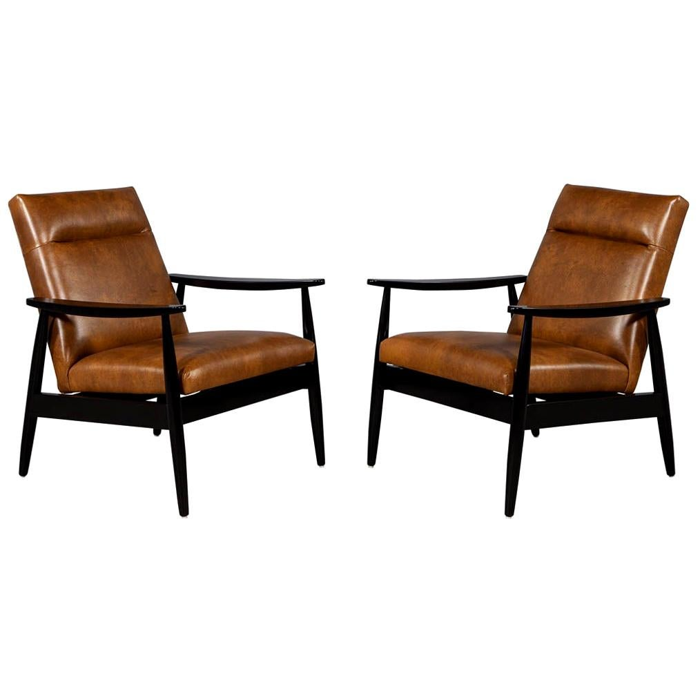 Pair of Custom Leather Lounge Chairs by Carrocel