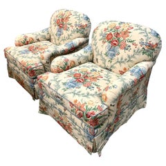Pair of Custom Linen Blend Floral Chintz Club Chairs Armchairs