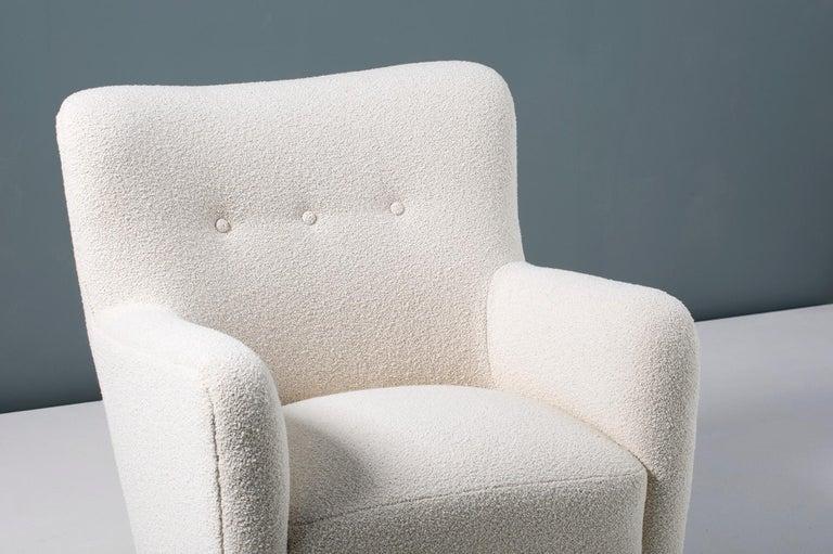 Scandinavian Modern Pair of Custom Made 1940s Style Danish Boucle Armchair For Sale