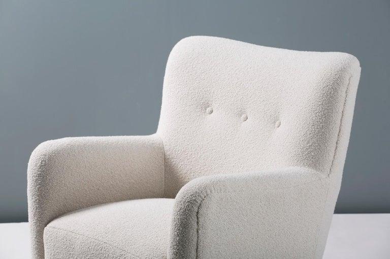 Bouclé Pair of Custom Made 1940s Style Danish Boucle Armchair For Sale
