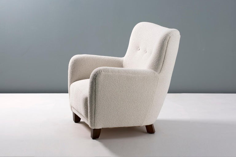 Pair of Custom Made 1940s Style Danish Boucle Armchair For Sale 1