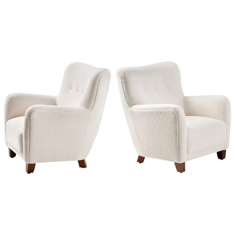 Pair of Custom Made 1940s Style Danish Boucle Armchair For Sale