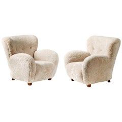 Pair of Custom Made 1940s Style Sheepskin Armchairs