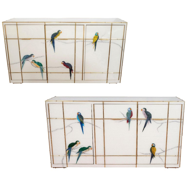 Pair of Custom Made Brass Bamboo Inlay and Murano Glass Parrot Sideboards, Italy For Sale