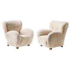 Pair of Custom Made Danish Sheepskin Armchairs
