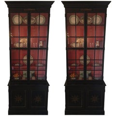 Pair of Custom Made John Rosselli Ebony Display Cabinets, Mid-20th Century