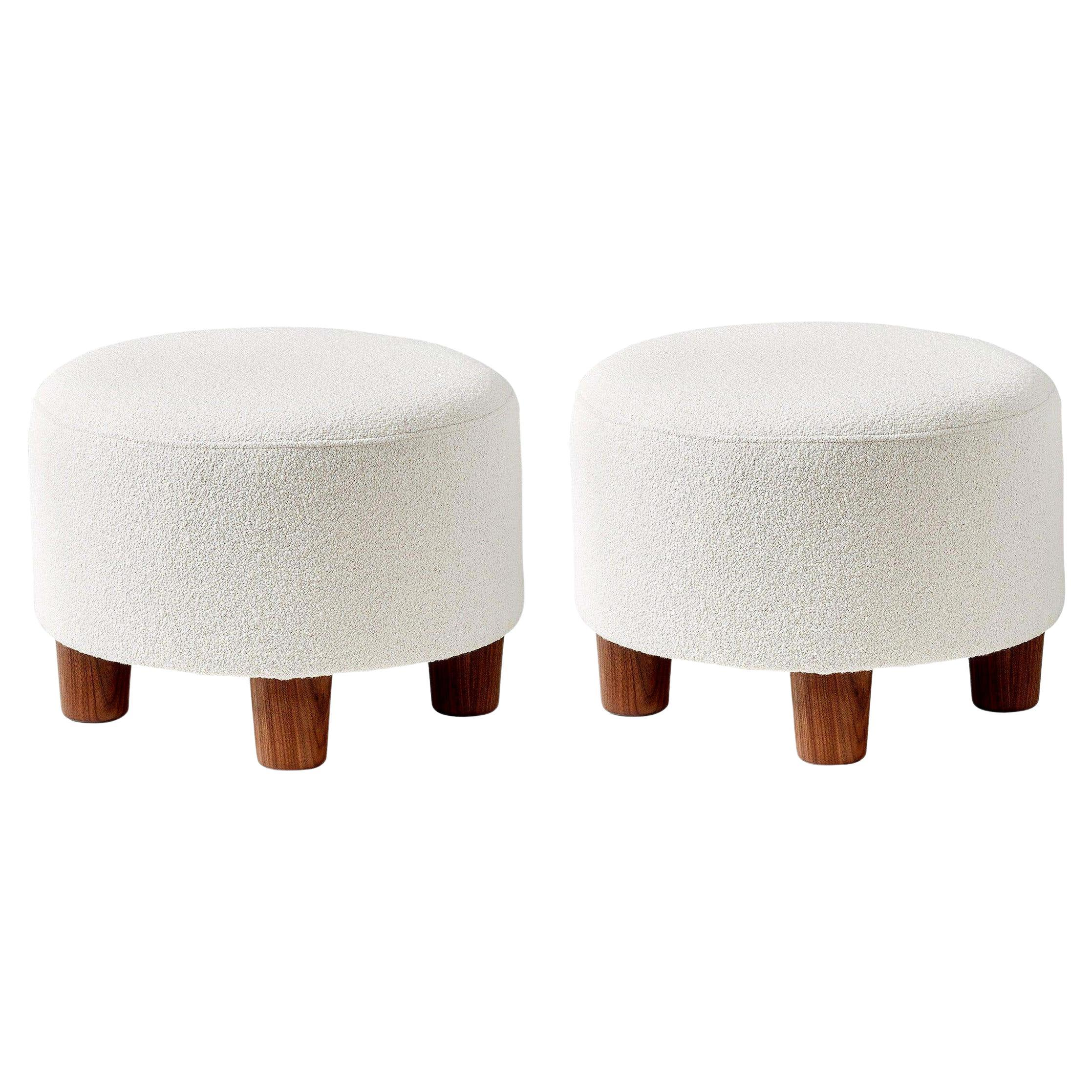 Pair of Custom Made Round Boucle Ottomans with Walnut Legs