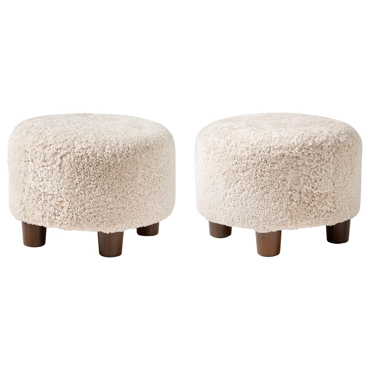 Pair of Custom Made Round Shearling Ottomans
