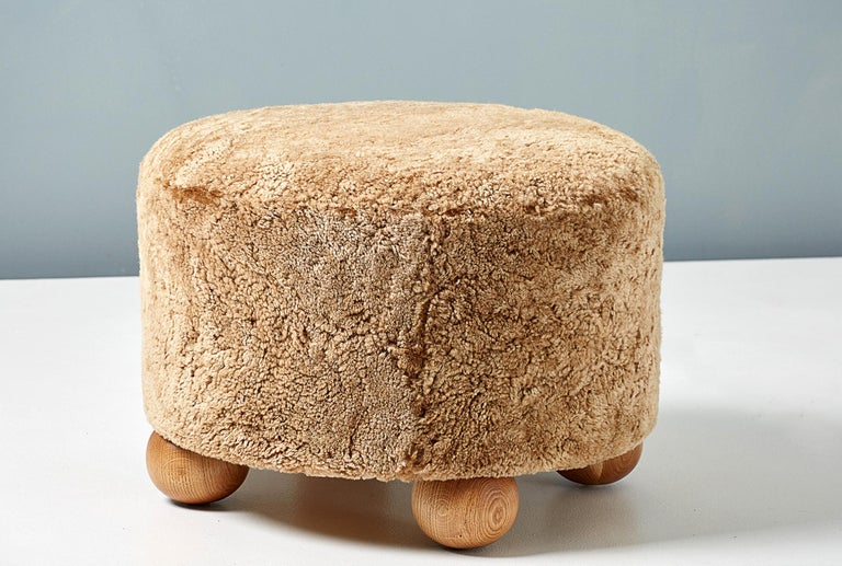 Pair of Custom Made Round Sheepskin Ottomans with Oak Ball Feet For Sale 3