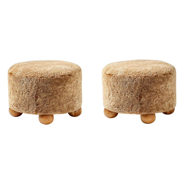 Pair of Custom Made Round Sheepskin Ottomans with Oak Ball Feet For Sale