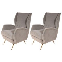 Pair of Custom Made Sculptural Lounge Chairs in Grey Velvet, Italy, 2020
