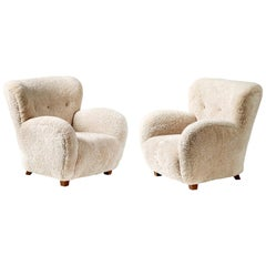 Pair of Custom Made Sheepskin Armchairs