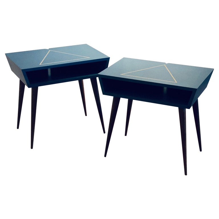 Pair of Custom Made Solid Walnut Lacquer Nightstands/ End Tables For Sale
