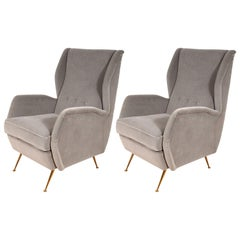 Pair of Custom Made to Order Sculptural Lounge Chairs in Grey Velvet, Italy
