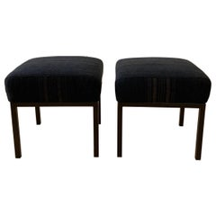 Pair of Custom Made Vintage Grain Sack Upholstered Cube and Metal Frame Ottomans