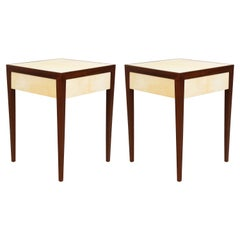 Pair of Custom Mahogany End/Side Tables with Parchment Top and Central Drawers