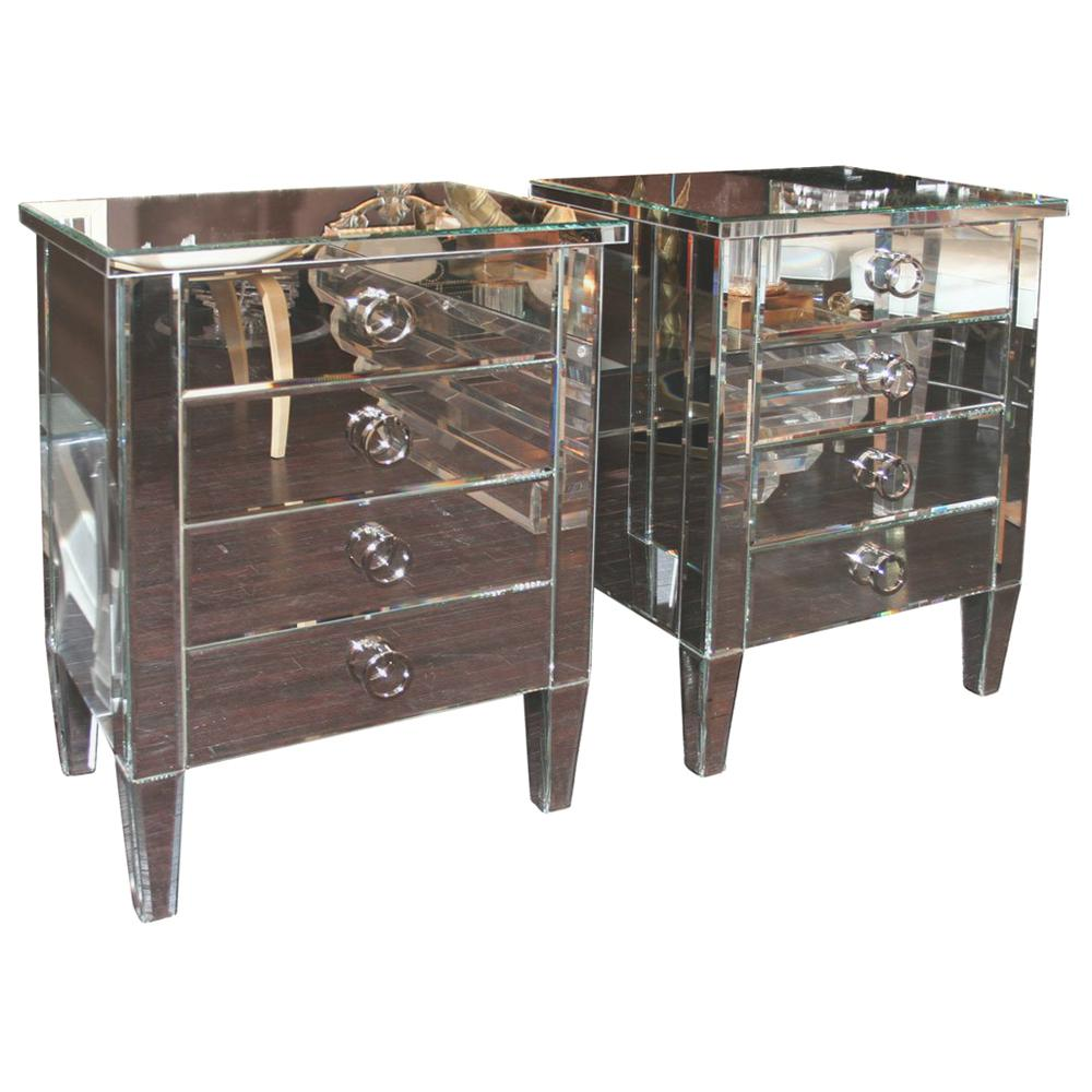 Pair of 4-Drawer Mirrored End Tables