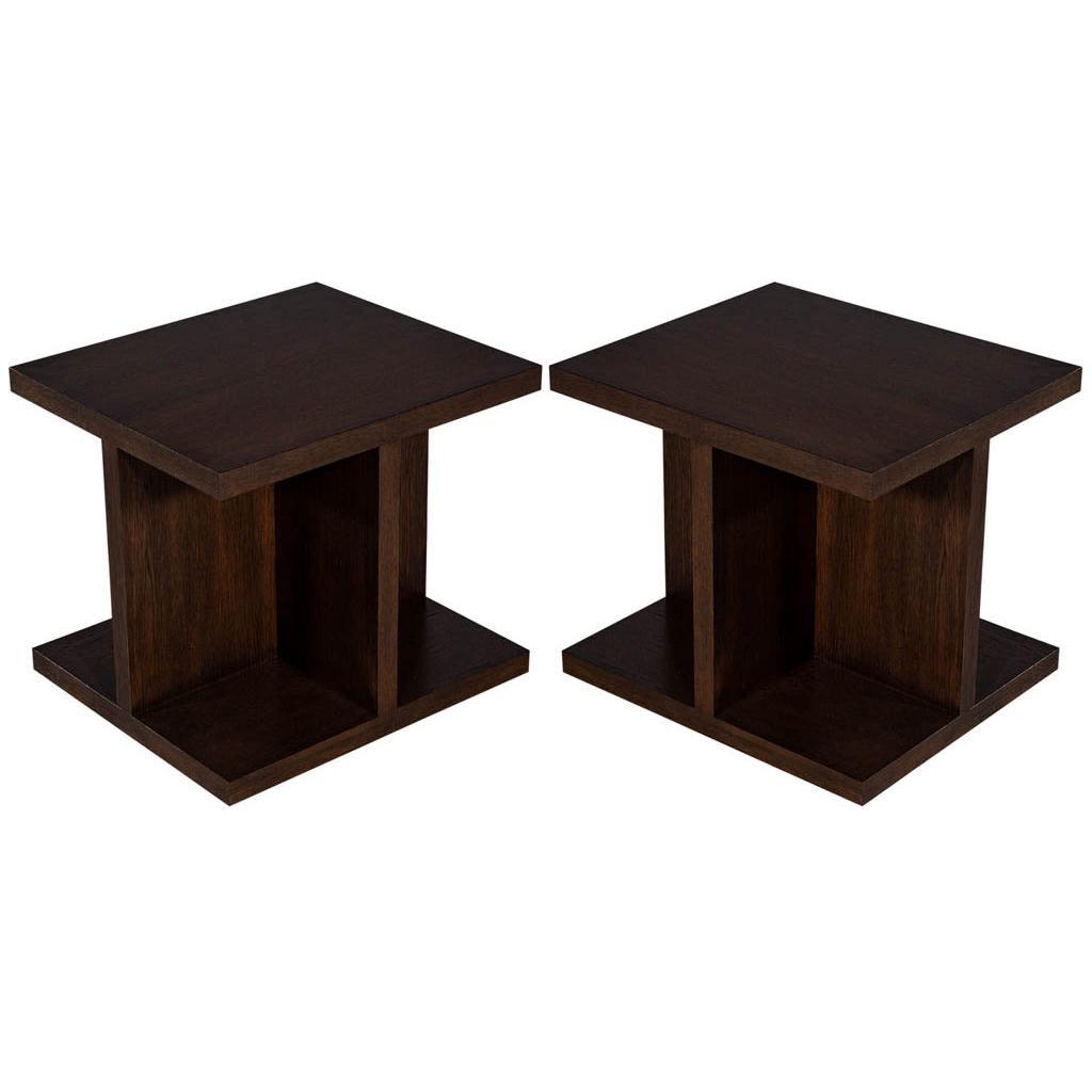 Pair of Custom Modern Geometric End Tables