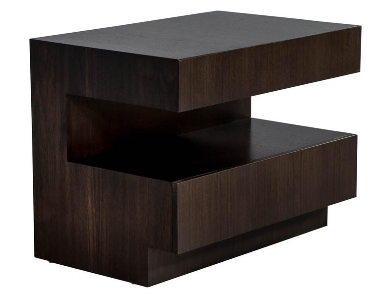 Carrocel custom modern style two drawer night tables, custom built and finished by Carrocel in walnut and finished in a rich deep black walnut finish. These tables can be custom ordered.