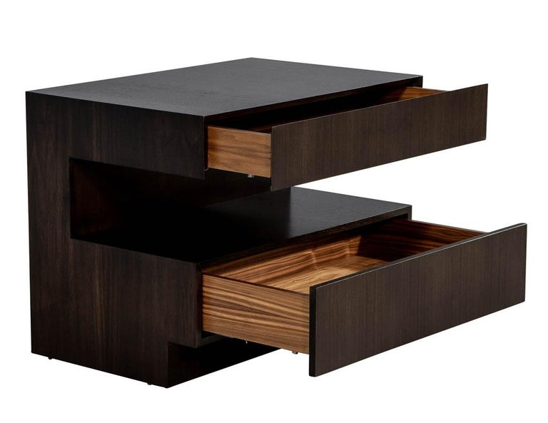 Canadian Pair of Custom Modern Walnut End Tables by Carrocel For Sale