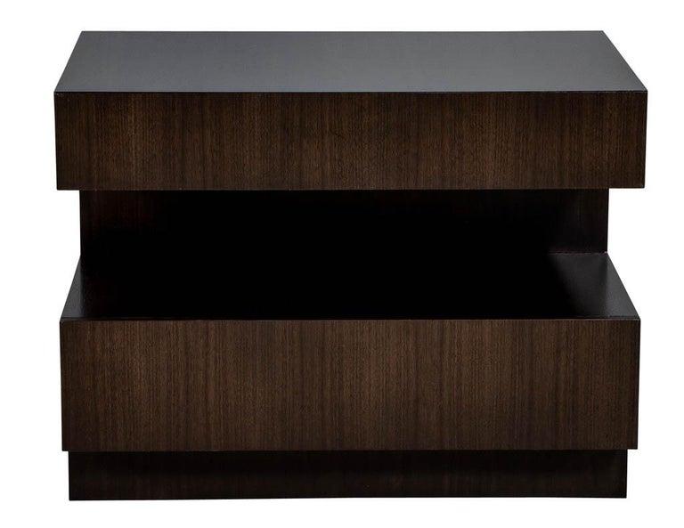 Metal Pair of Custom Modern Walnut End Tables by Carrocel For Sale