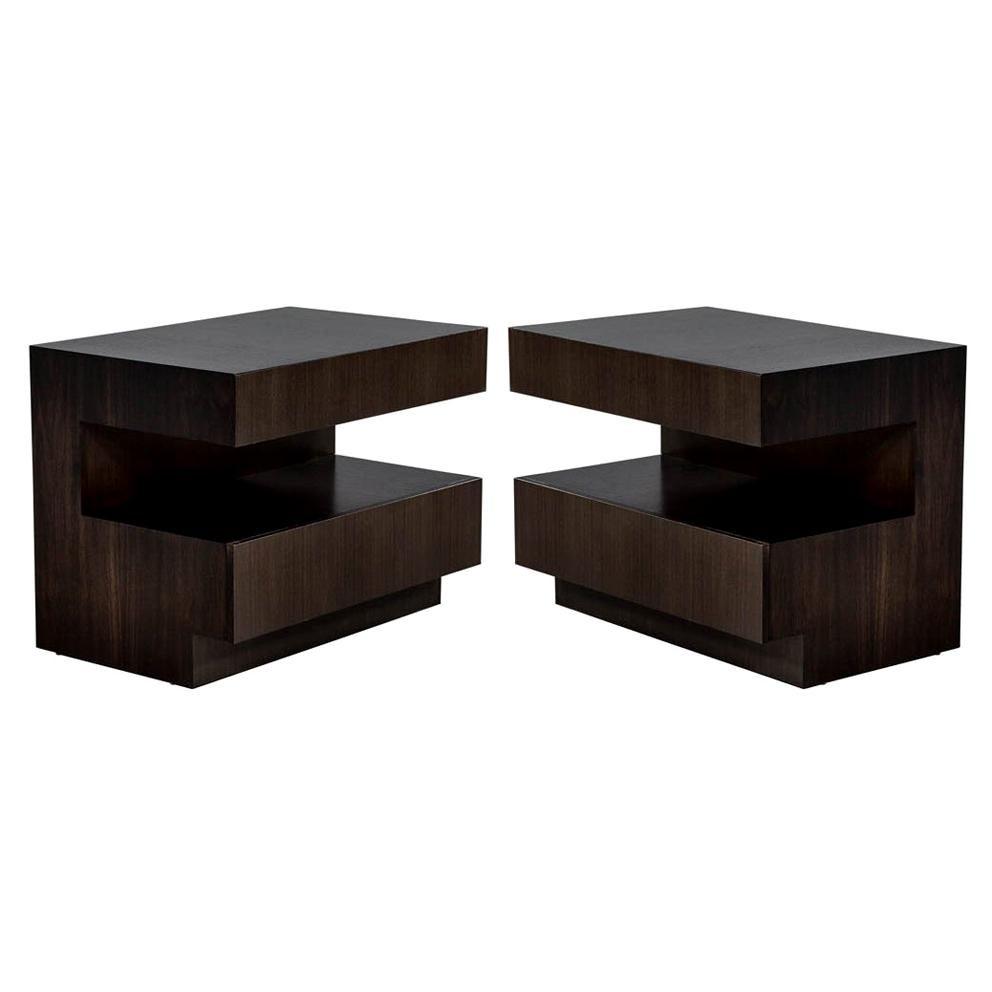 Pair of Custom Modern Walnut End Tables by Carrocel