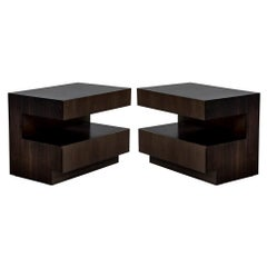 Pair of Custom Modern Walnut End Tables by Carrocel