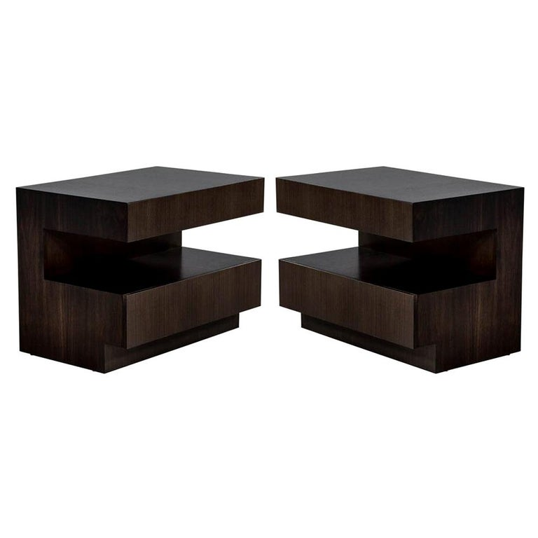 Pair of Custom Modern Walnut End Tables by Carrocel For Sale