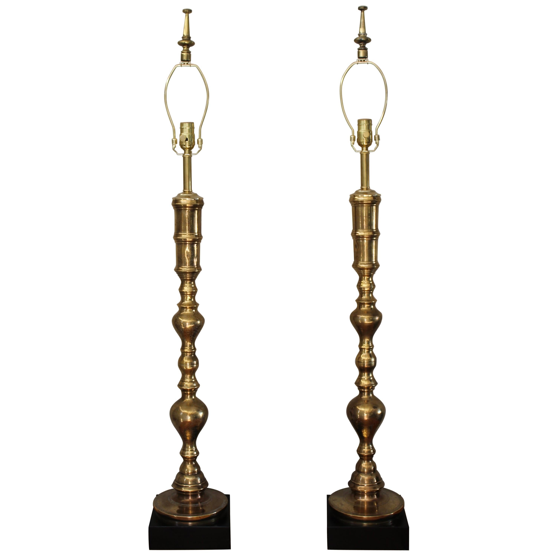 Pair of Custom Moroccan Brass Lamps