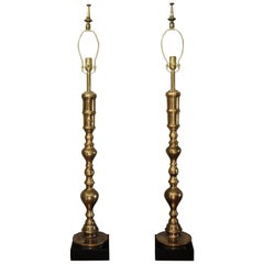 Pair of Custom Moroccan Brass Lamps