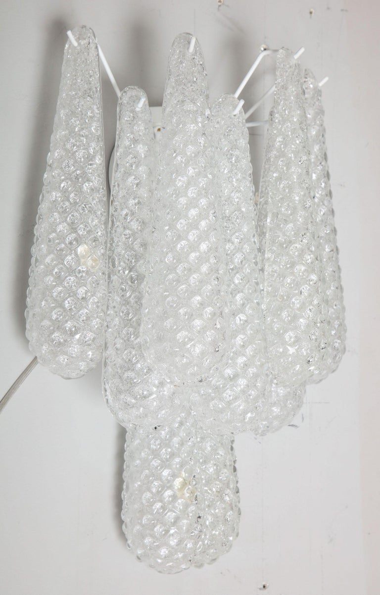 Pair of Custom Murano Honeycomb Glass Sconces For Sale 6