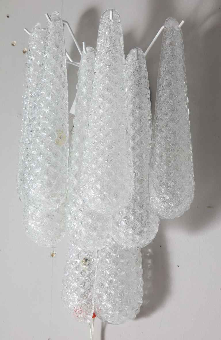Pair of Custom Murano Honeycomb Glass Sconces For Sale 11