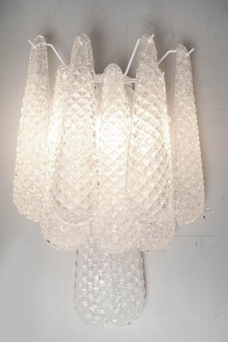 Mid-Century Modern Pair of Custom Murano Honeycomb Glass Sconces For Sale