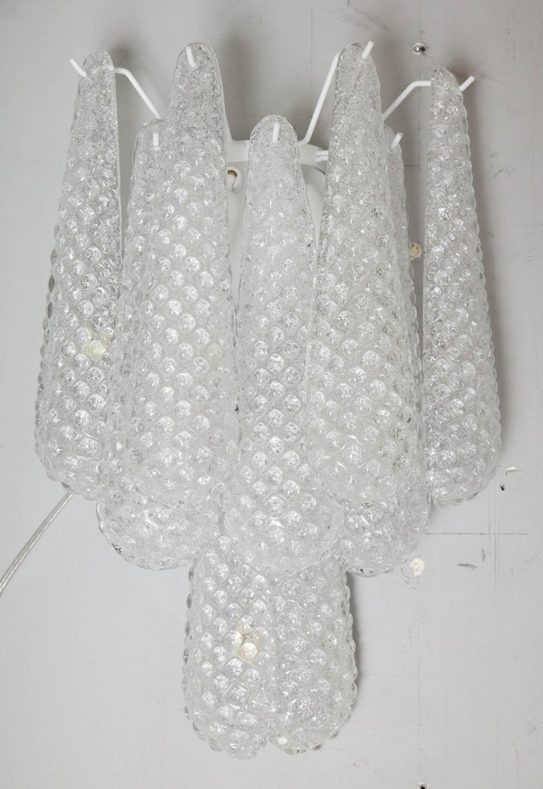 Pair of Custom Murano Honeycomb Glass Sconces In New Condition For Sale In New York, NY