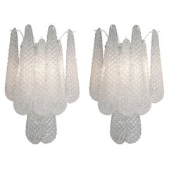 Pair of Custom Murano Honeycomb Glass Sconces