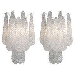 Pair of Custom Murano Honeycomb Glass Sconces