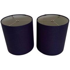 Pair of Custom Navy Linen Drum Lamp Shades