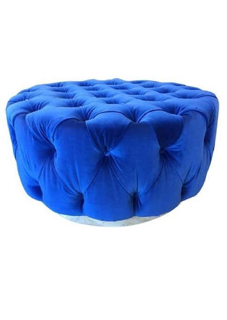 Pair of our custom originals modern blue tufted ottomans has a round wooden white platform base with blue velvet upholstery. Ottomans would look amazing in a walk-in-closet. Ottomans are part of our Custom Design (FCD) furniture line.