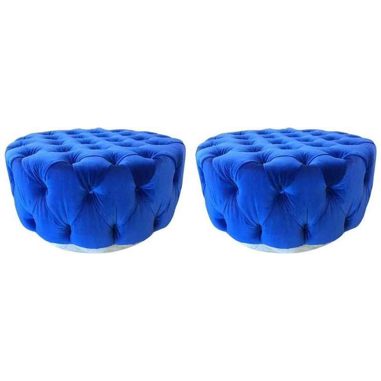 American Pair of Custom Originals Modern Blue Tufted Ottomans For Sale