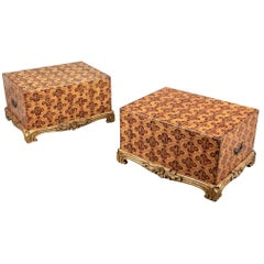 Pair of Custom Paint Decorated Trunks by Graham Carr