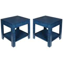 Pair of Custom Painted Blue Tables